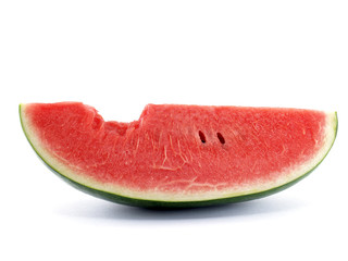 watermelon and bite marks, Tropical fruit are sweet, juicy, rich in fiber and vitamins