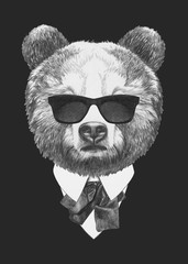 Portrait of Bear in suit. Hand drawn illustration.