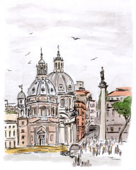 Sketch of square in Rome