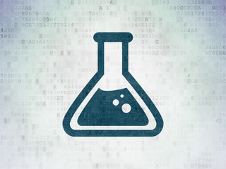 Science concept: Flask on Digital Paper background