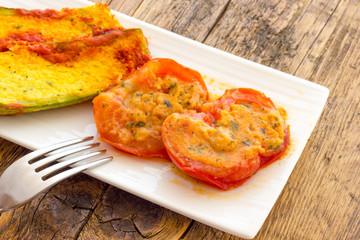 Stuffed tomatoes and Zucchini