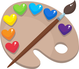 Palette with colored hearts