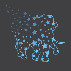 Illustration. Elephant with stars. Sketch.