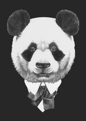 Portrait of Panda in suit. Hand drawn illustration.