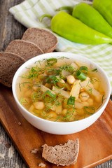 Moroccan chickpeas soup with vegetables on the plate
