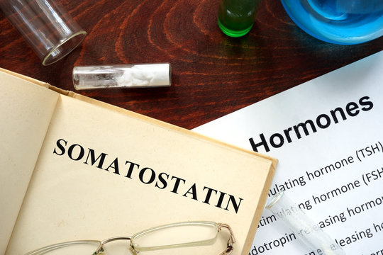 Hormone somatostatin  written on book. Test tubes and hormones list.