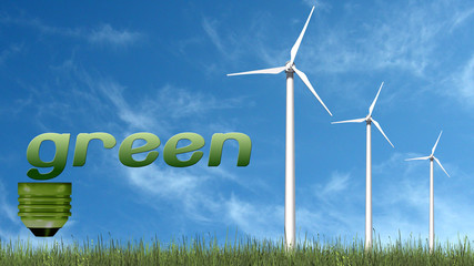 green text  and wind turbines - ecology concept
