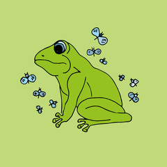Illustration green frog with butterflies, background