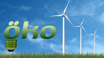 Öko text and wind turbines - ecology concept