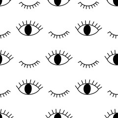 Black and white abstract pattern with open and winking eyes. Cute eye background illustration.