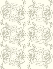 Illustration. Roses on a white background. Seamless pattern.