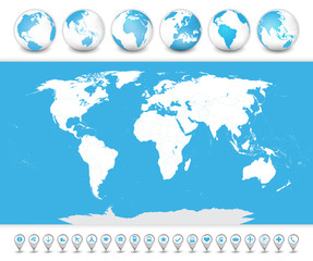 Fototapete - World Map with globes and icons