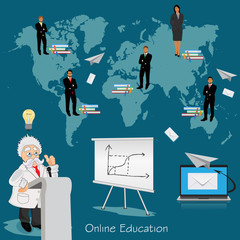 Science and education concept, distance, online, learning professor, international students, vector illustration in flat design for web sites, Infographic design