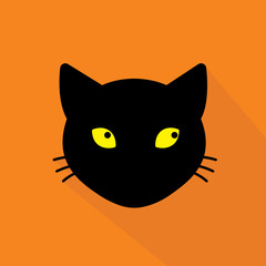 vector flat icon with long shadow black cat on orange background