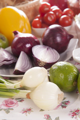 mix vegetables, fruits