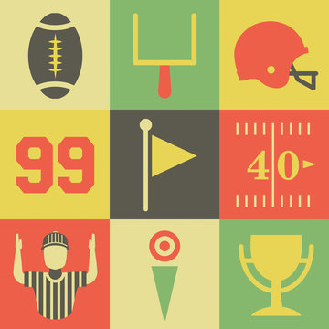 Vintage American Football Icons