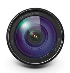 Camera lens isolated on white background. Vector illustration