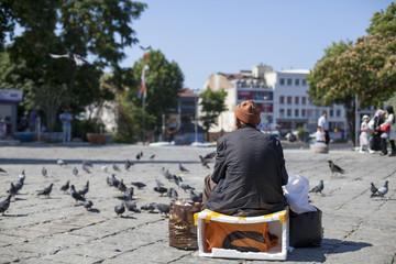 Hombre oriental sentado en plaza con palomas