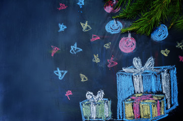 Christmas background with presents and a Christmas tree drawn wi