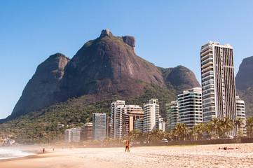 Empty Sao Conrado Beach in Rio de Janeiro, Brazil