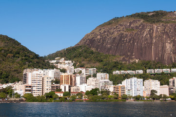 View or Mountains and Buildings of Rio de Janeiro around Rodrigo de Freitas Lake