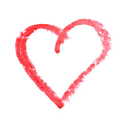 Painted heart on white paper background