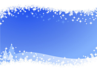 Christmas winter sky lights background. Sparkling Christmas card banner with pine trees and many different snowflakes on the border.