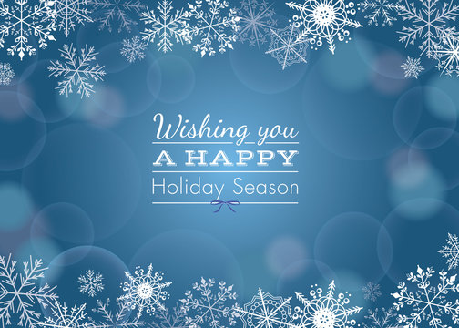 Holiday greeting with snowflake background (vector)