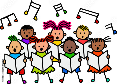 A group of happy and diverse stick children singing together in a choir stock photo and - Coloriage chorale ...