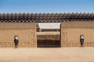 Adobe walls at archeological site Chan Chan