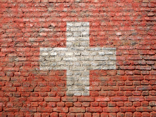 Swiss flag painted on a wall