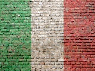 Italian flag painted on a wall