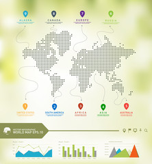 World map infographics, Digital world map with line travel trajectory, editable vector.