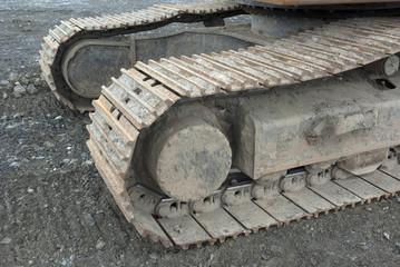 dirty bulldozer close up view gray