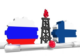 russian and finland flags on gears, gas rig, pipeline