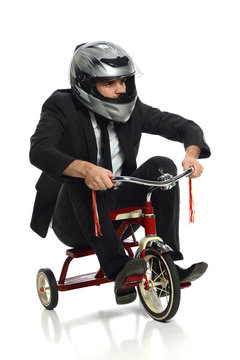Young Businessman on Tricycle