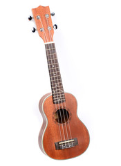 Classic ukulele Hawaiian guitar, studio shot isolated on white b