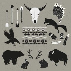Hand Drawn tribal indian animals and objects set