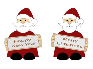 Santa Claus, greeting card happy new year and merry Christmas, vector illustration with Santa Claus on white background