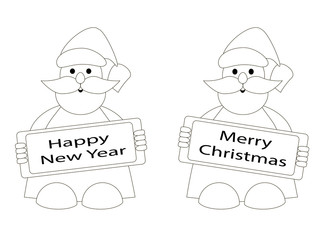 silhouette of Santa Claus, contour drawing Santa Claus vector illustration with Santa Claus on white background