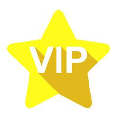 Icono plano estrella texto VIP sombra amarillo