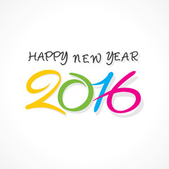 creative typography design of happy new year 2016 vector