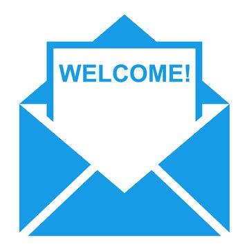 Icono sobre texto WELCOME azul