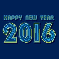 creative happy new year 2016 by line design vector