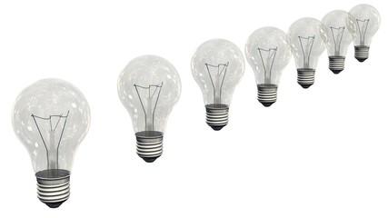 light bulbs in a row - isolated