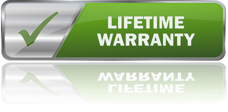 modern green lifetime warranty 3D vector sign