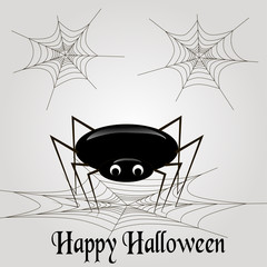 Spider with web on a light gray background, vector illustration with spider and web, black and white illustration
