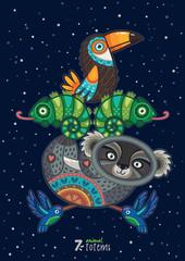 Hand drawn decorative cartoon totem with animals