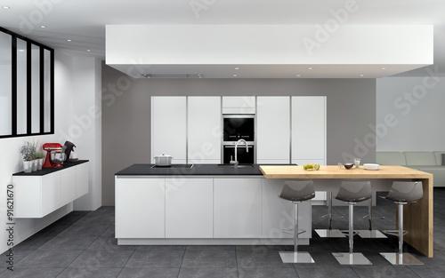 cuisine 07 blanc mat ilot avec table bois mur d 39 armoires sans poign es verri re photo. Black Bedroom Furniture Sets. Home Design Ideas