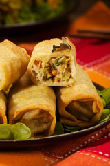 Portion baked spring rolls with vegetables and rice on a plate.